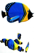 Child's Blue, Black and Yellow Tropical Fish Mobile With 27 Baby Fish