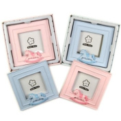 Lovely Boxed Ceramic Photo Frame With Rocking Horse Detail Blue