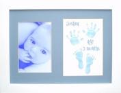 BabyRice Baby Boy Blue Hand & Footprint Prints Kit, White Frame