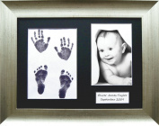 BabyRice Baby / Toddler Handprint Footprint Kit with Vintage Silver frame, Black 3 hole mount