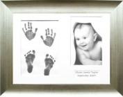 BabyRice Baby Handprint Footprint Impression Kit / Antique Silver Frame / Baby Paint Wipe 0-3 years