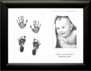 BabyRice Baby Handprint Footprint Kit with Black Display Frame, White mount