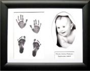 BabyRice Baby Handprint Footprint Kit with 29cm x 22cm Black Frame, White 3-O mount, Inkless Wipe