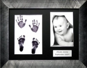 BabyRice Baby Handprint Footprint Kit with 29cm x 22cm Pewter effect Frame, Black 3 mount, Inkless Wipe