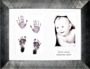 BabyRice Baby Hand Print & Footprint Kit, 29cm x 22cm Pewter Frame, White 3 space mount