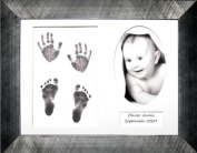 BabyRice Baby Handprint & Footprint Kit with 29cm x 22cm brushed Pewter Display Frame, White 3 space mount