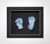 Baby Boy Casting Kit, 15cm x 13cm White 3D Box Display Frame / Black Mount & Backing / Metallic Blue Paint by BabyRice