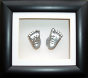 Baby Casting Kit, 15cm x 13cm Black 3D Box Display Frame / White Mount / Metallic Silver Paint by BabyRice