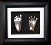 Baby Casting Kit, 15cm x 13cm Black 3D Box Display Frame / White Mount / Black backing / Metallic Silver Paint by BabyRice