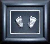 Baby Casting Kit, 15cm x 13cm Black 3D Box Display Frame / Metallic Silver Paint by BabyRice