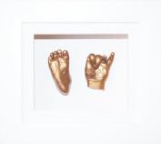 Baby Casting Kit, 15cm x 13cm White 3D Box Display Frame / White Mount / Metallic Gold Paint by BabyRice