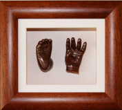 Baby Casting Kit with 15cm x 13cm Dark Wood Frame, Bronze Metallic Paint by BabyRice
