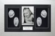 BabyRice New Baby Gift Handprint & Footprint Imprints Kit, Silver Frame