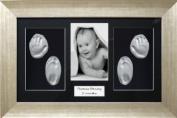 BabyRice Baby Christening Gift Handprint & Footprint Imprints Kit, Antique Silver effect Box Display Frame