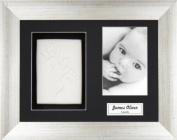 BabyRice Baby / Toddler Handprint Footprint Imprints Kit with Vintage Silver Frame, Super Soft White Clay Dough