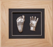 Baby Casting Kit, 15cm x 13cm Solid Oak 3D Shadow Box Display Frame / Black mount / Metallic Silver Paint by BabyRice