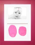 BabyRice New Baby Girl Gift Handprint & Footprint Imprints Mould Kit Pink Box Display Photo Frame & Soft Clay Dough