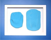 BabyRice New Baby Boy Gift Handprint & Footprint Imprints Mould Kit Blue Box Display Frame & Soft Clay Dough