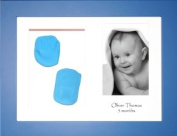 BabyRice New Baby Boy Gift Handprint Footprint Imprints Mould Kit Blue Box Display Photo Frame & Soft Clay Dough