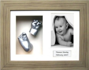 Baby Casting Kit with 29cm x 22cm Oak effect Frame / Silver Metallic paint by BabyRice
