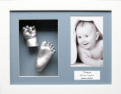Baby Casting Kit with 29cm x 22cm White Box Display Frame, Blue 3 space mount, Silver paint by BabyRice