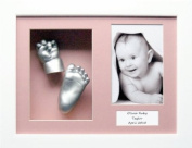 Baby Casting Kit with 29cm x 22cm White Box Display Frame, Pink 3 space mount, Silver paint by BabyRice