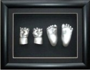 Large Baby Casting Kit with 29cm x 22cm Black 3D Box Display Frame / Silver Metallic Paint by BabyRice