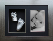 BabyRice Baby Casting Kit/ Pewter effect Frame 2 Aperture/ Silver Hand and Foot Casts