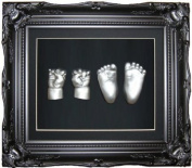 Large Baby Casting Kit with 29cm x 24cm Black Vintage Rococo Ornate Frame / Silver Metallic Paint by BabyRice