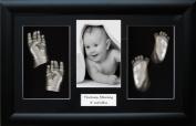 Large / Twins Baby Casting Kit, 37cm x 22cm Black 3D Display Frame, Metallic Silver paint by BabyRice