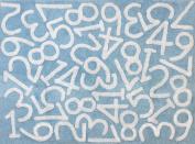 Aratextil. Kids Rug 100% Cotton Machine washable Collection Numeros Celeste 120x160 cms