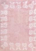 Aratextil. Kids Rug 100% Cotton Machine washable Collection Conejitos Rosa 120x160 cms