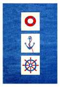 "Little Helper IVI Exclusive Hypo-Allergenic Large, Thick Pile & High Quality 3D Embossed Rug in ""Nautical"" Design, Blue"
