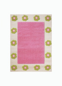 "Little Helper IVI Exclusive Hypo-Allergenic Large, Thick Pile & High Quality 3D Embossed Rug ""Flowerpatch"" design, Pink"