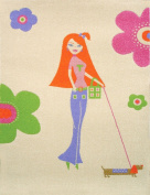 Little Helper 134 x 180cm IVI Exclusive Hypoallergenic 3D Girl's Embossed Rug with Pretty Woman Design