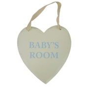 Baby's Room Wooden Plaque Heart Shape Cream Gender Neutral Blue Writting