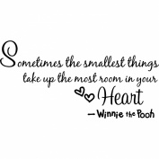 "winnie the pooh quote wall art words sticker ""sometimes the smallest things takes up the most room in your heart."" nursery wall saying decal art lettering for baby kids bedroom decor vinyl wallpaper gift - 58cm x 28cm black"