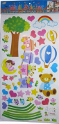 Cute Nursery Wall Mural Stickers - Teddy Bear, Train, Balloons, Hearts, Flowers and Moon