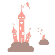 Fairy princess castle in the clouds wall sticker by Stickerscape (Regular size) - 34cm x 41cm - Part of the Fairy Princess collection