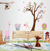 WallStickersDecal Jungle Forest Monkey, Elephant, Giraffe, Lion playing by colourful tree wall decal sticker for nursery