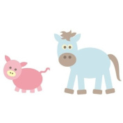 Farm yard animals wall stickers - horse and pig - farm theme - removable - wall decal - wall graphic - wall art