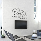 Sticker Bay Relax Chillout & Unwind Wall Sticker Quote Art - Moss Green