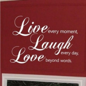 Sticker Bay Live Laugh Love Wall Sticker Quote Art Décor - Leather Brown