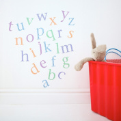 Kidscapes Alphabet Lower Case Wall Stickers, 26 Stickers a - z, Harlequin