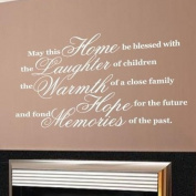 Sticker Bay May This Home Be Blessed Wall Sticker Quote Inspirational - White