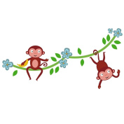 Jungle monkey vine wall sticker (double) - removable - wall decal - wall graphic - wall decal