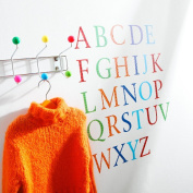 Kidscapes Alphabet Uppercase Wall Stickers, 26 Stickers A - Z, Harlequin Brights