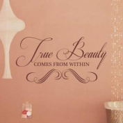 Sticker Bay True Beauty Comes From Within Wall Sticker Art Quote Dressing Room Décor Girls - Orange