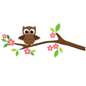 Woodland Owl on a Tree Branch Wall Sticker by Stickerscape
