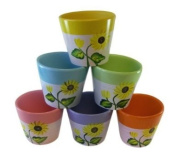 Home and Garden 6pc Sunflower Pot Set - Ceramic Flower Planters - Decorative ...